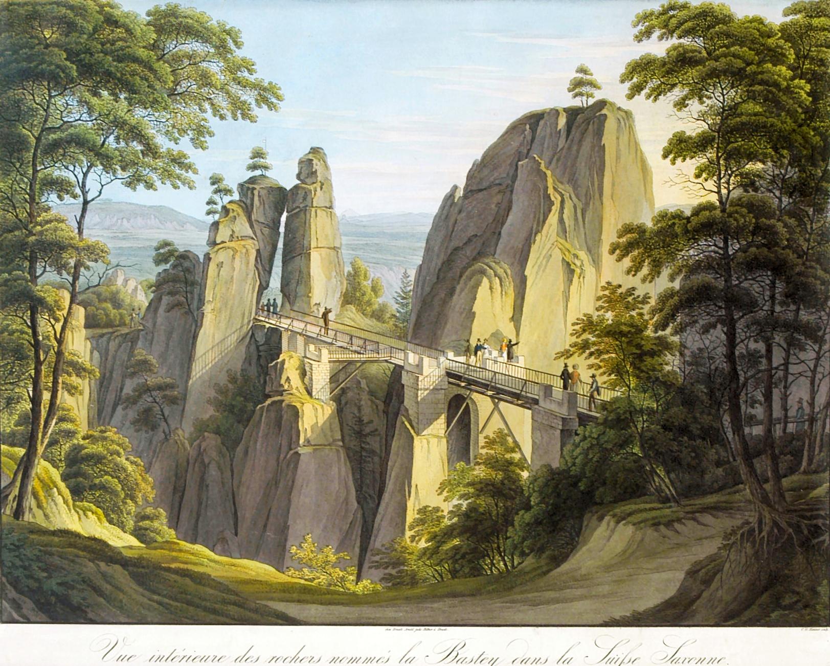 The Wooden Bastei Bridge in 1826