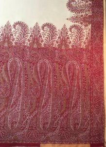 My French, wool and silk, jacquard woven shawl from the 1830s, 306 x 154 cm