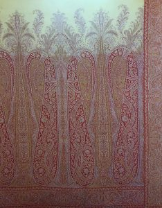 French, wool and silk, jacquard woven shawl from the mid-19th