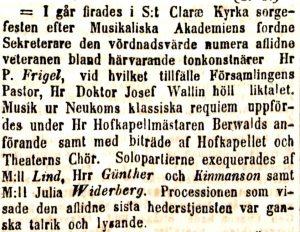 A note on Pehr Frigel's funeral (Daglig Allehanda, 10 December 1842)