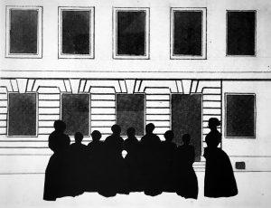 Augusta and her friends listening to Mrs. Edgren outside the Edgren School