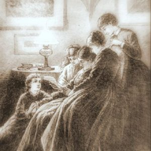 Illustration of Little Women. Frank T. Merrill, 1880.