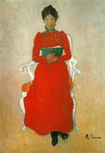 Dora Lamm reading a book. Painting by Carl Larsson.