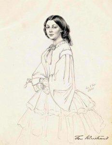 Dorothea Plagemann (Dorothée Kindstrand). Drawing by Maria Röhl 1861.