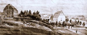 Umeå Church and Vicarage. Painting by Pastor Anders Abraham Grafström.