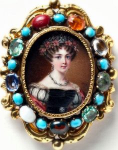 Josefina, Queen of Sweden and Norway. Miniature painting by Johan Way.