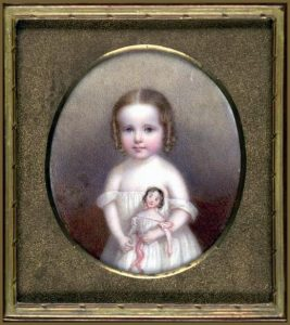 John Carlin, Little Girl with Doll, ca. 1854, watercolor on ivory, Smithsonian American Art Museum