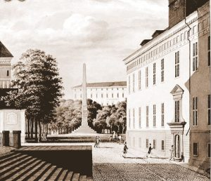 In the foreground, Gustavianum, where Adolf Nordvall studied philosophy, and Carolina Rediviva, the university library in the background. Johan Way, 1833.