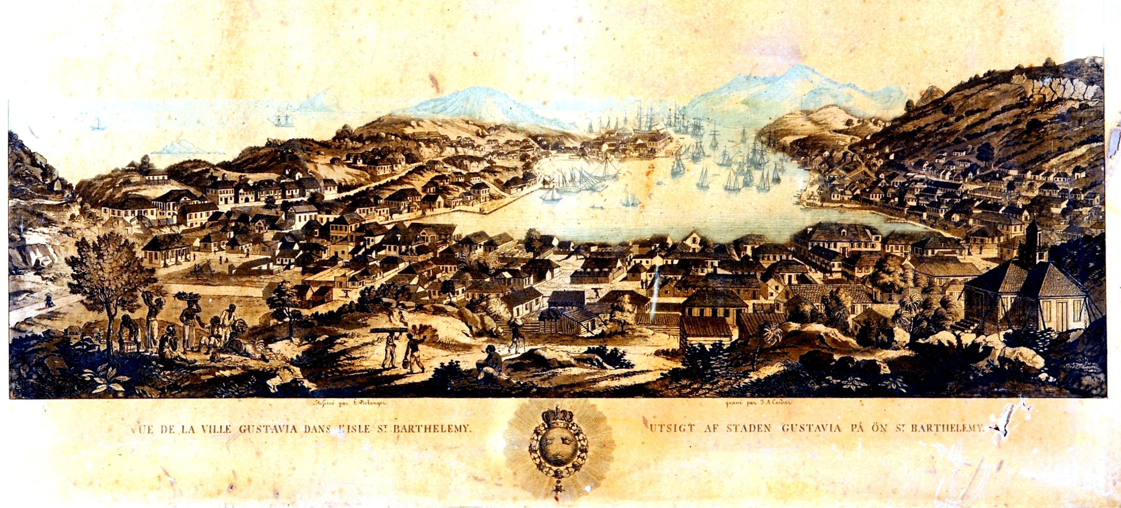 The view of the town Gustavia on the island of St. Barthelemy. Engraving by J. A. Cordier de Bonneville
