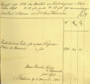 Tante Cordier's census record in 1845