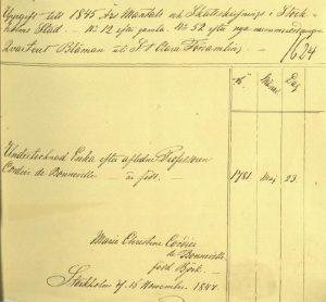 Tante Cordier's census record in 1845