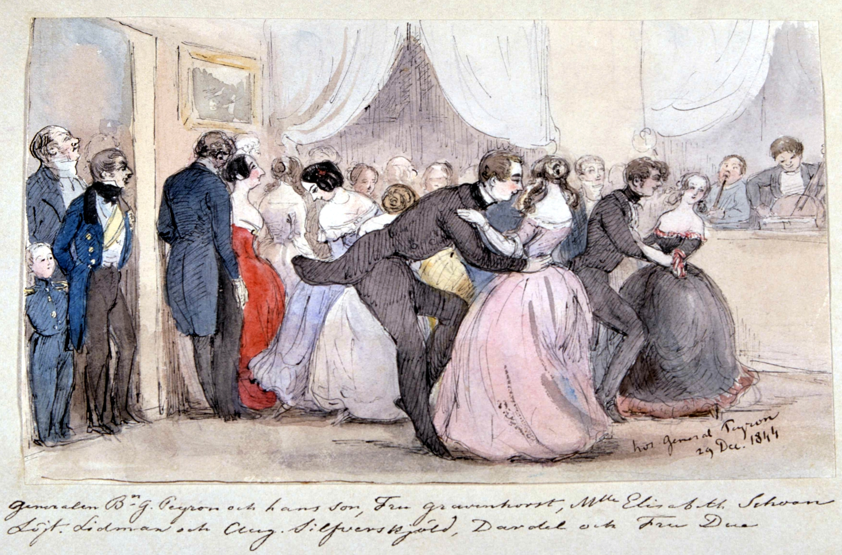 At General Peyron's Ball, 19 Dec 1844. Elisabeth Schwan is the dark haired girl in the lilac dress.