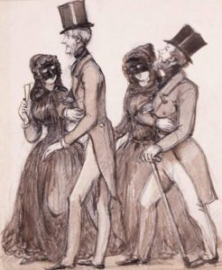 Sketch of couples on their way to a masquerade ball. Fritz von Dardel 1842.
