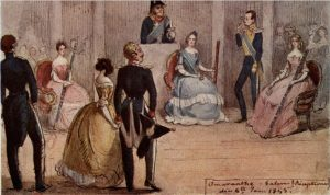 The Amaranth Ball, 6 January 1845. Painting by Fritz von Dardel. Kunt Bergenstråhle is the young lieutenant in the middle.