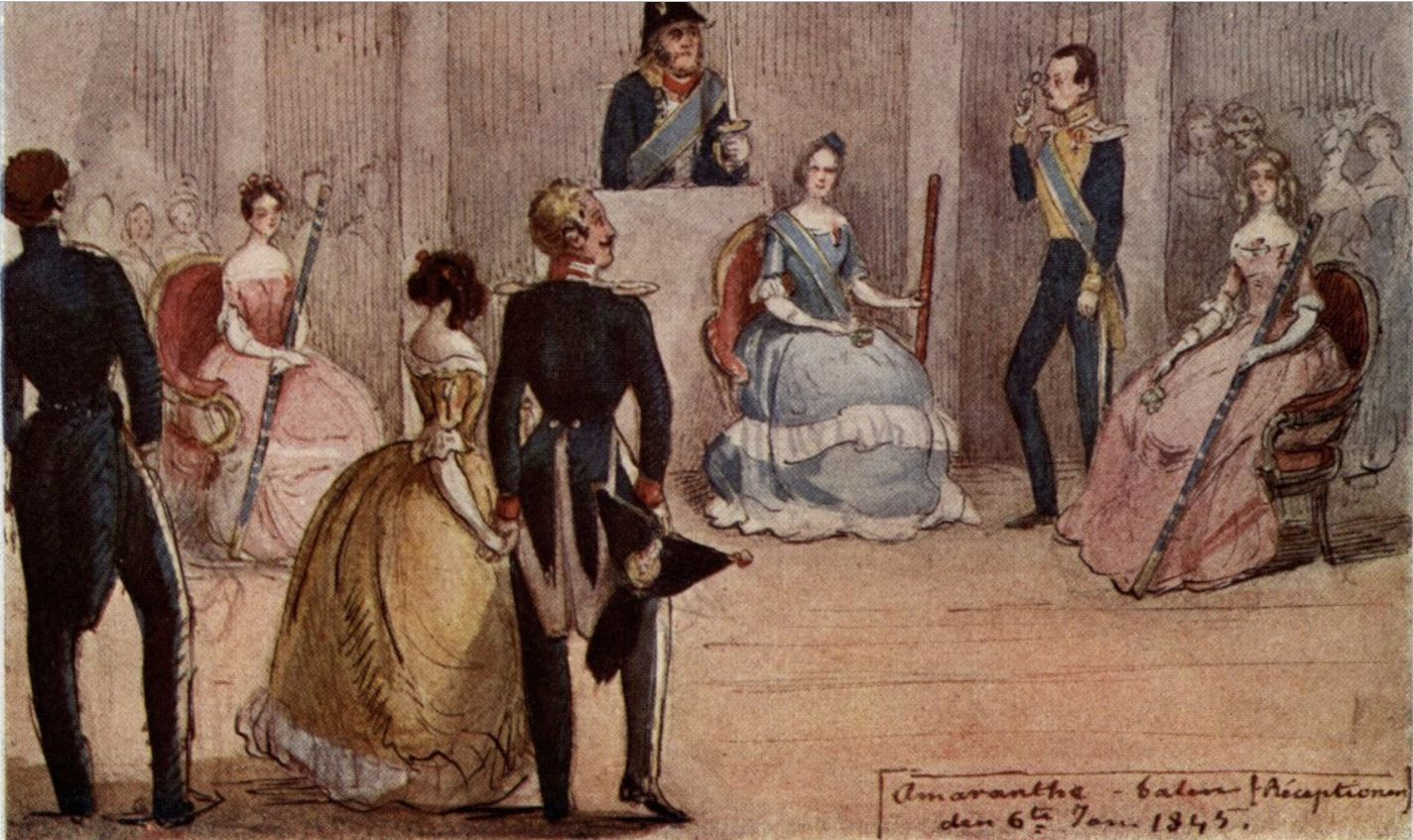 The Amaranth Ball, 6 January 1845. Painting by Fritz von Dardel. Knut Bergenstråhle is the young lieutenant in the middle.