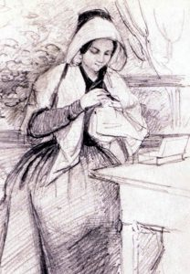 A woman sewing. Drawing by Fritz von Dardel 1845.