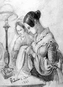 Women sewing. Drawing by Fritz von Dardel 1841.