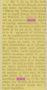 A note in the local newspaper about the Almroth sisters leaving for the Crimea. (Linköpings Tidningar, 20 JAN 1855.