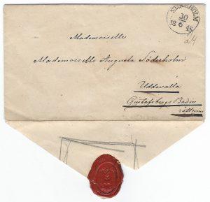 Emilia Breitholtz' letter to Augusta - postmarked in Stockholm, 30 June 1845